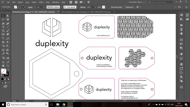Duplexity tags business cards and logo