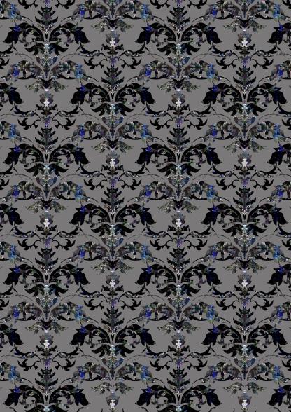 Damask patterns Black and Blue_grey background