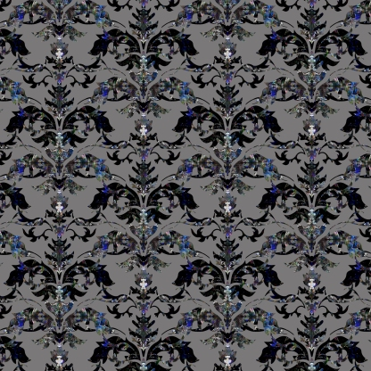 Damask patterns Black and Blue_grey background