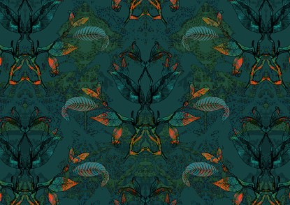 Ibis standing with leaves black shape pattern_maximalist_big scale experimenting with colours GREEN
